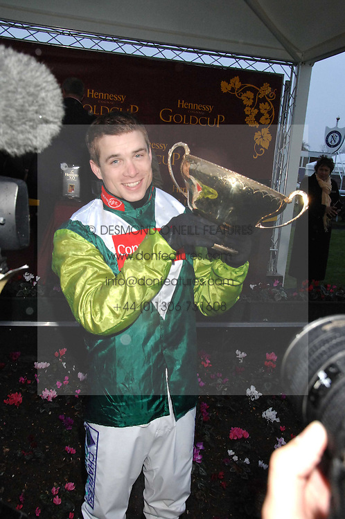Jockey Sam Thomas winner of the Gold Cup at the 2007 Hennessy Gold Cup held at Newbury racecourse, Berkshire on 1st December 2007.<br /><br />NON EXCLUSIVE - WORLD RIGHTS
