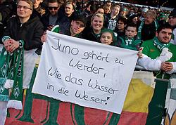 """14.02.2015, Weserstadion, Bremen, GER, 1. FBL, SV Werder Bremen vs FC Augsburg, 21. Runde, im Bild Fans in der Ostkurve mit einem Banner, auf dem """"Juno gehört zu Werder, wie das Wasser in die Weser"""" geschrieben steht // during the German Bundesliga 21th round match between SV Werder Bremen and FC Augsburg at the Weserstadion in Bremen, Germany on 2015/02/14. EXPA Pictures © 2015, PhotoCredit: EXPA/ Andreas Gumz<br /> <br /> *****ATTENTION - OUT of GER*****"""