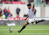Southern Kings' Kurt Coleman kicks a penalty.<br /> Guinness Pro14 rugby match, Scarlets v Southern Kings at the Parc y Scarlets in Llanelli, Carms, Wales on Saturday 2nd September 2017.<br /> pic by Craig Thomas, Andrew Orchard sports photography.