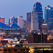 Downtown Kansas City, Missouri skyline at dusk taken from near the Scout Statue in Penn Valley Park, Saturday, March 30, 2013.