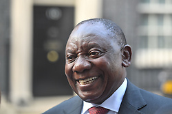 South African President Cyril Ramaphosa in Downing Street, London talks to the waiting media after having bilateral talk with Prime Minister Theresa May.