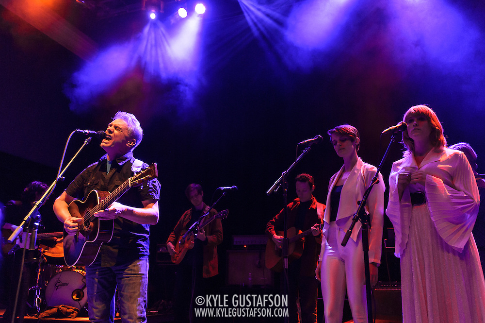 WASHINGTON, DC - January 24th, 2014 -  Iain Matthews of Fairport Convention (left) performs at the 9:30 Club in Washington, D.C. with members of Beach House, The Walkmen, Wye Oak, Grizzly Bear and other bands during a tribute to Gene Clark's seminal 1974 album, No Other.  (Photo by Kyle Gustafson /  For The Washington Post)