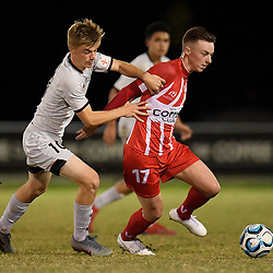 BRISBANE, AUSTRALIA - AUGUST 25:  during the NPL Queensland Senior Mens Round 29 match between Olympic FC and Young Roar at Goodwin Park on August 25, 2019 in Brisbane, Australia. (Photo by Patrick Kearney)