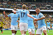 Goal - Kevin De Bruyne (17) of Manchester City celebrates  scoring a goal to give a 3-0 lead with Gabriel Jesus (33) of Manchester City during the The FA Cup Final match between Manchester City and Watford at Wembley Stadium, London, England on 18 May 2019.