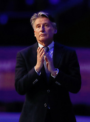 IAAF President Sebastian Coe during the minutes applause for Sir Roger Bannister during day four of the 2018 IAAF Indoor World Championships at The Arena Birmingham.