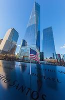 NEW YORK CITY- MARCH 25, 2018 : Ground Zero memorial  one of the main Manhattan Landmarks
