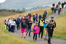 Gleneagles, Scotland, UK; 8 August, 2018.  Day one of golf competition at Gleneagles.. Men's and Women's Team Championships Round Robin Group Stage - 1st Round. Four Ball Match Play format. Gleneagles for the European Championships 2018. Spectators own the course following Georgia Hall and Laura Davies of GB.