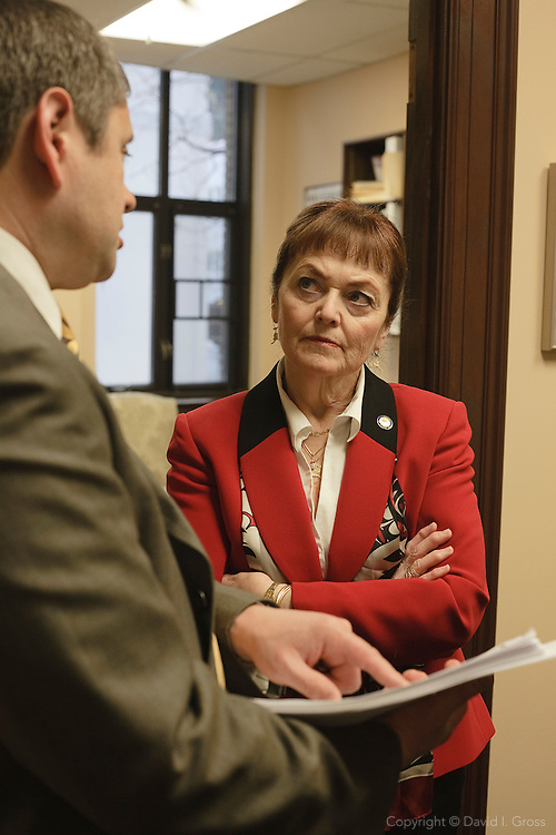 Alaska Representative Chris Tuck (D) pitches his bill (HB69) to Senator Linda Menard (R), the State Affairs Committee Chair, gathering support for his bill in the Alaska senate.