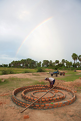 Construction Of New Rural School With Rainbow