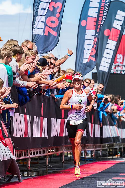 Camilla Pedersen of Denmark finishes Ironman 70.3 Norway in Haugesund in second place.
