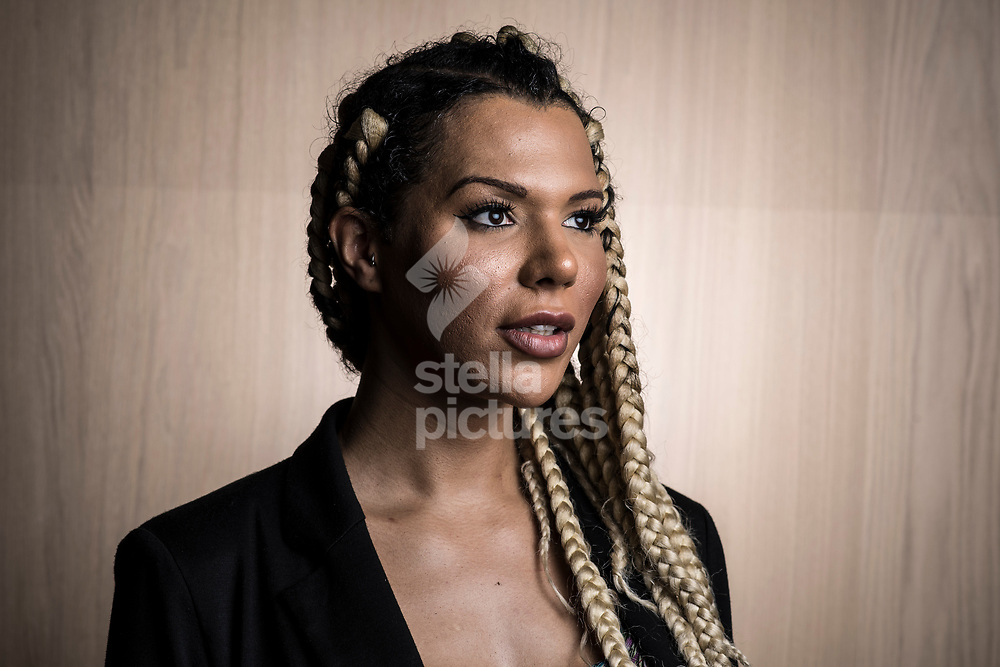 Munroe Bergdorf, pictured at The Design Museum, Kensington.<br /> Bergdorf is a trans gender model and DJ who was hired by L'Oréal as the face of True Match, a campaign that marries makeup to social justice, and three days since she was sacked unceremoniously.<br /> Picture by Daniel Hambury/Stella Pictures Ltd 07813022858<br /> 28/09/2017