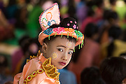 Novice Monk in full initiation dress at Novitation Ceremony, Bagan