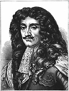Charles II (1630-1685) King of Great Britain and Ireland from 1660 after restoration of the monarchy.  Engraving.