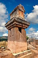 A Lycian  marble pillar tomb from 480-470 B.C.  Xanthos UNESCO World Heritage Archaeological Site, Turkey.<br /> <br /> If you prefer to buy from our ALAMY PHOTO LIBRARY  Collection visit : https://www.alamy.com/portfolio/paul-williams-funkystock/xanthos-lycian-turkey.html<br /> <br /> Visit our ANCIENT WORLD PHOTO COLLECTIONS for more photos to download or buy as wall art prints https://funkystock.photoshelter.com/gallery-collection/Ancient-World-Art-Antiquities-Historic-Sites-Pictures-Images-of/C00006u26yqSkDOM