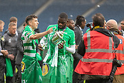 Goalscorer Odsonne Edouard & Michael Johnston celebrate with the Trophy following their victory in the William Hill Scottish Cup Final match between Heart of Midlothian and Celtic at Hampden Park, Glasgow, United Kingdom on 25 May 2019.
