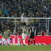 Fenerbahce's Moussa Sow goal (3ndL) during their Turkish superleague soccer derby match Fenerbahce between Besiktas at Sukru Saracaoglu stadium in Istanbul Turkey on Sunday 05 February 2012. Photo by TURKPIX