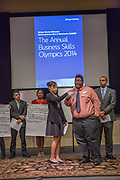Purchase, NY – 31 October 2014. The team from Alexander Hamilton High School presenting their case. (Left to right: Steeven  Bermal,  Sarin Sajan Itty, Sadé Whittier, Tyler Burns, Christopher Clough.) Alexander Hamilton High School placed third in the 2014 competition. The Business Skills Olympics was founded by the African American Men of Westchester, is sponsored and facilitated by Morgan Stanley, and is open to high school teams in Westchester County.