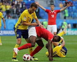 July 3, 2018 - Russia - July 03, 2018, St. Petersburg, FIFA World Cup 2018 Football, the playoff round. Football match of Sweden - Switzerland at the stadium of St. Petersburg. Player of the national team Olbin Indal. (Credit Image: © Russian Look via ZUMA Wire)