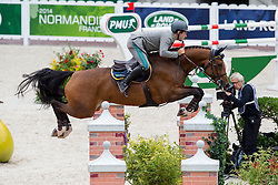 Emanuele Gaudiano, (ITA), Cocoshynsky - Team & Individual Competition Jumping Speed - Alltech FEI World Equestrian Games™ 2014 - Normandy, France.<br /> © Hippo Foto Team - Leanjo De Koster<br /> 02-09-14