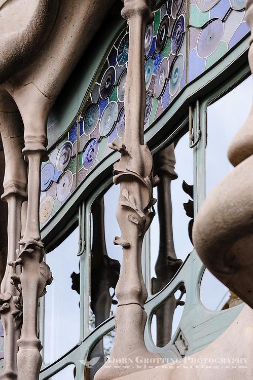 Spain, Barcelona. Casa Batlló is one of Antoni Gaudí's masterpieces. Exterior.
