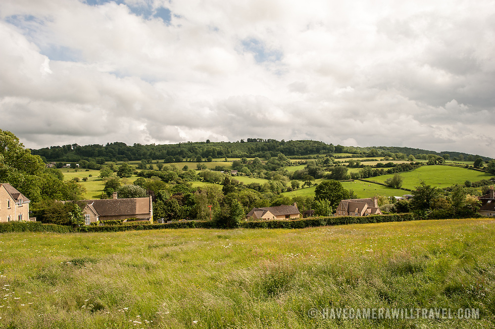 View of the gently rolling hills of the Cotswolds outside Painswick, Gloucestershire.