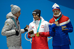 February 18, 2018 - Pyeongchang, South Korea - ANDREAS WELLINGER of Germany (left) , KAMIL STOCH of Poland (center) and ROBERT JOHANSSON of Norway with their medals from the Men's Large Hill Individual ski jumping event in the PyeongChang Olympic Games. (Credit Image: © Christopher Levy via ZUMA Wire)