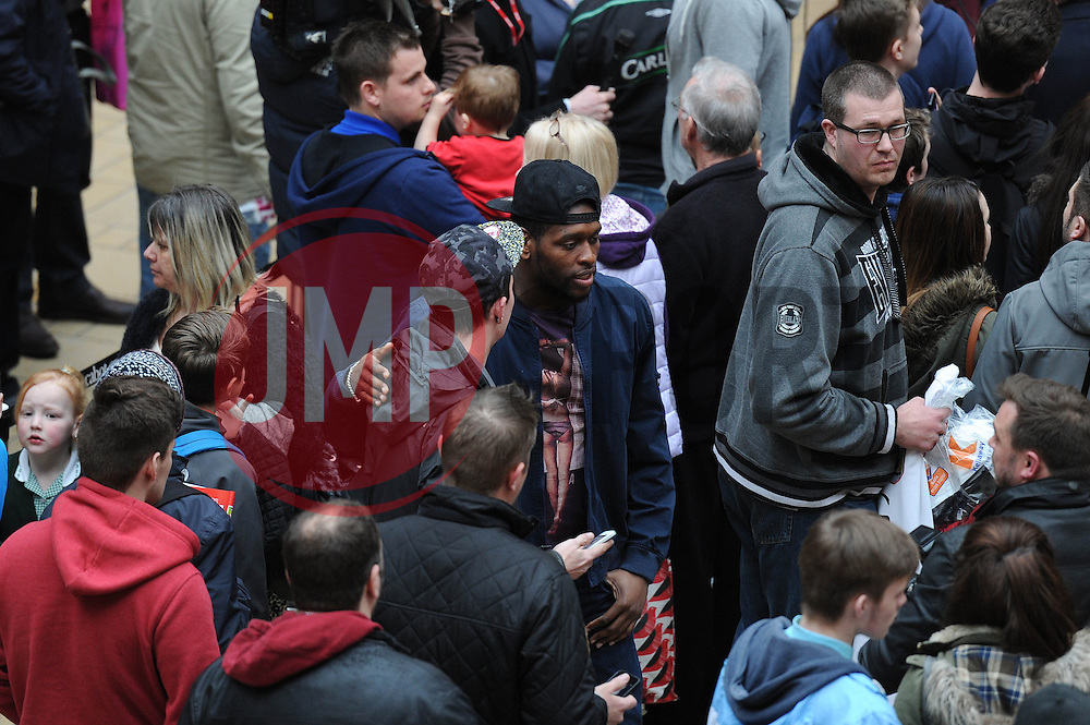 Bristol City's Jay Emmanuel-Thomas speaks with fans - Photo mandatory by-line: Dougie Allward/JMP - Mobile: 07966 386802 - 11/03/2015 - SPORT - Football - Bristol - Cabot Circus Shopping Centre - Johnstone's Paint Trophy