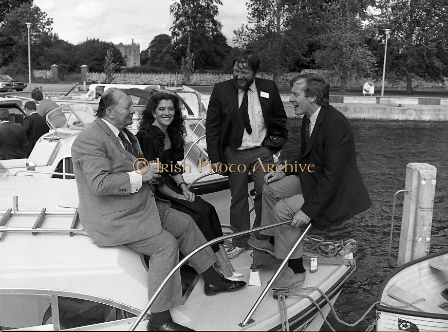 "Galway Oyster Festival..1982.09.09.1982.09.09.1982.9th September 1982..Image to include the ""Pearl""..The Festival was held on the banks of the Shannon at Portumna Co.,Galway..It was held in the picturesque new marina. The event was sponsored by Guinness. Emerald Star line were also represented..Picture shows Mr.R.B.Howick,Trade Director,Guinness Group Sales.Ms Marion Fitzpatrick, Oyster Festival ""Pearl"". Mr John Lefroy, Manager, Emerald Star Line and Festival Chairman Mr. Donal Morrissy"