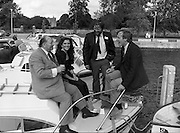 """Galway Oyster Festival..1982.09.09.1982.09.09.1982.9th September 1982..Image to include the """"Pearl""""..The Festival was held on the banks of the Shannon at Portumna Co.,Galway..It was held in the picturesque new marina. The event was sponsored by Guinness. Emerald Star line were also represented..Picture shows Mr.R.B.Howick,Trade Director,Guinness Group Sales.Ms Marion Fitzpatrick, Oyster Festival """"Pearl"""". Mr John Lefroy, Manager, Emerald Star Line and Festival Chairman Mr. Donal Morrissy"""