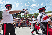 A military school band parades through the Jardín Allende past the ornate Parroquia de San Miguel Arcángel church during Mexican Independence Day celebrations September 16, 2017 in San Miguel de Allende, Mexico.