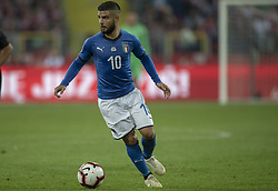 October 14, 2018 - Chorzow, Poland - Lorenzo Insigne of Italy controls the ball during the UEFA Nations League A match between Poland and Italy at Silesian Stadium in Chorzow, Poland on October 14, 2018  (Credit Image: © Andrew Surma/NurPhoto via ZUMA Press)
