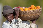 Indian orange seller from Seoni, Madhya Pradesh, India.