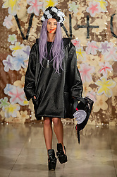 © Licensed to London News Pictures. 14/02/2019. London, United Kingdom.   Model on the catwalkat London Fashion Week AW19 Vin and Omi show.  Photo credit : Richard Isaac/LNP