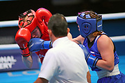 Rosie Eccles of Great Britain (left) and Saadat Dalgatova of Russia compete in the Women's Welterweight Preliminaries during The Road to Tokyo European Olympic Boxing Qualification, Sunday, March 15, 2020, in London, United Kingdom. (Mitchell Gunn-ESPA-Images/Image of Sport)