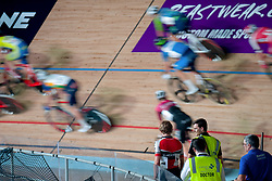 February 8, 2019 - Melbourne, VIC, U.S. - MELBOURNE, VIC - FEBRUARY 08: Joshua Heathers walks off the velodrome as riders are seen passing by during the 40km Madison Talent Cup Race at The Six Day Cycling Series on February 08, 2019 at Melbourne Arena, VIC. (Photo by Speed Media/Icon Sportswire) (Credit Image: © Speed Media/Icon SMI via ZUMA Press)