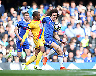 Chelsea's David Luiz tussles with Crystal Palace's Jason Puncheon during the Premier League match at the Stamford Bridge Stadium, London. Picture date: April 1st, 2017. Pic credit should read: David Klein/Sportimage via PA Images