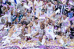 June 19, 2018 - Vitoria, Spain - Real Madrid celebrating the championship during Liga Endesa Finals match (4th game) between Kirolbet Baskonia and Real Madrid at Fernando Buesa Arena in Vitoria, Spain. June 19, 2018. (Credit Image: © Coolmedia/NurPhoto via ZUMA Press)