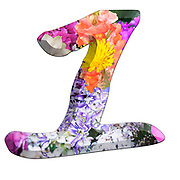 The number One Part of a set of letters, Numbers and symbols of 3D Alphabet made with colourful floral images on white background