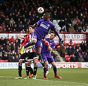 Charlton Athletic striker, Yaya Sanogo (25) winning a flick on during the Sky Bet Championship match between Brentford and Charlton Athletic at Griffin Park, London, England on 5 March 2016. Photo by Matthew Redman.