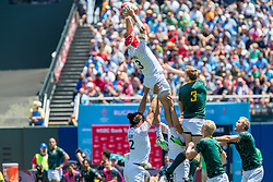 July 22, 2018 - San Francisco, CA, U.S. - SAN FRANCISCO, CA - JULY 22: England flanker Phil Burgess grabs the ball during a lineout during the semifinal match between England and South Africa at the Rugby World Cup Sevens on July 22, 2018 at AT&T Park in San Francisco, CA. (Photo by Bob Kupbens/Icon Sportswire) (Credit Image: © Bob Kupbens/Icon SMI via ZUMA Press)