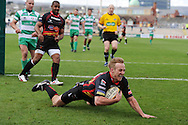 Ashley Smith dives over for a Dragons try. Magners league, Newport Gwent Dragons v Benetton Treviso at Rodney Parade in Newport  on Sunday 3rd April 2011. pic by Andrew Orchard, Andrew Orchard sports photography,