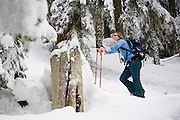 A female snowshoer admires the trees above her on a trip to Kendall Peak near Snoqualmie Pass, Washington.