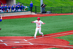 NORMAL, IL - May 01: Jordan Libman scores the 1st run  during a college baseball game between the ISU Redbirds and the Indiana State Sycamores on May 01 2019 at Duffy Bass Field in Normal, IL. (Photo by Alan Look)