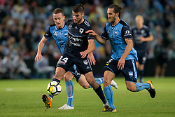 April 28, 2018 - Sydney, NSW, U.S. - SYDNEY, NSW - APRIL 28: Melbourne Victory midfielder Terry Antonis (24) pass a ball forward under pressure from Sydney FC midfielder Brandon O'Neill (13) and midfielder Joshua Brillante (6) at the A-League Soccer Semi Final Match between Sydney FC and Melbourne Victory on April 28, 2018 at Allianz Stadium in Sydney, Australia. (Photo by Speed Media/Icon Sportswire) (Credit Image: © Speed Media/Icon SMI via ZUMA Press)