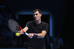 November 15, 2017 - London, England, United Kingdom - Jamie Murray of Great Britain partner of Bruno Soares of Brazil in action during their Doubles match against Ivan Dodig of Croatia and Marcel Granollers of Spain on day four of the Nitto ATP World Tour Finals at O2 Arena, London on November 15, 2017. (Credit Image: © Alberto Pezzali/NurPhoto via ZUMA Press)