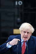 April 27, 2020, London, England, United Kingdom: British Prime Minister Boris Johnson makes a statement on his first day back at work in Downing Street, London, after recovering from a bout with the coronavirus that put him in intensive care, Monday, April 27, 2020. The highly contagious COVID-19 coronavirus has impacted on nations around the globe, many imposing self isolation and exercising social distancing when people move from their homes. (Credit Image: © Vedat Xhymshiti/ZUMA Wire)