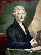 Thomas Jefferson (1743-1826) Third President of the United States 1801-1809. Coloured lithograph half-length portrait  of Jefferson seated at desk, c1845.