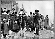 Lady Minto presenting colours to Herchmer's Horse as they leave Ottawa for South Africa, 19 January 1900. 2nd Boer War 1899-1902