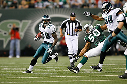 Philadelphia Eagles wide receiver Jeremy Maclin #18 runs with the ball during the NFL game between the Philadelphia Eagles and the New York Jets on September 3rd 2009. The Jets won 38-27 at Giants Stadium in East Rutherford, NJ.  (Photo By Brian Garfinkel)