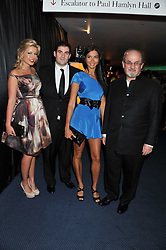 Left to right, NATHALIE COYLE , ZAFAR RUSHDIE, EMMA MONTCLAIR and SIR SALMAN RUSHDIE at the GQ Men of the Year 2011 Awards dinner held at The Royal Opera House, Covent Garden, London on 6th September 2011.